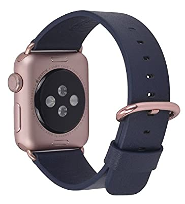 JSGJMY Apple Watch Band 42mm Men Women Navy Genuine Leather Replacement Wrist Strap with Rose Gold Metal Clasp for Iwatch Series 3 2 1 Edition Sport