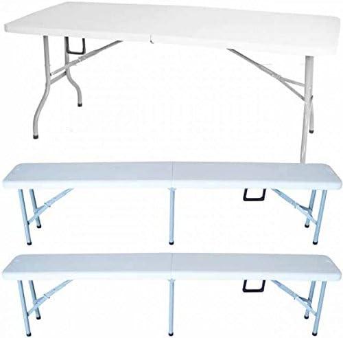 3 piezas. Set mufaro 2 x Banco plegable + 1 x mesa plegable asiento Grupo plegable jardín, carpa Escobillero: Amazon.es: Jardín