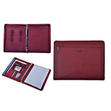 iCarryAlls Leather Binder Portfolio, Organizer Padfolio with 3-Ring Binder for Letter Paper and 11-inch Laptop,Red