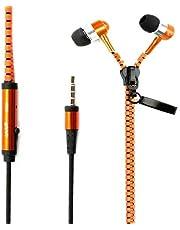 3.5mm Jack In-Ear Zipper Stereo Hands-free Headphone Headset Earphone Earbud Mic - Orange