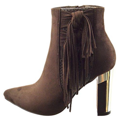 Sopily - Zapatillas de Moda Botines bimaterial A medio muslo mujer piel de serpiente fleco metálico Talón Tacón ancho alto 9 CM - plantilla sintética - forradas en piel - Marrón