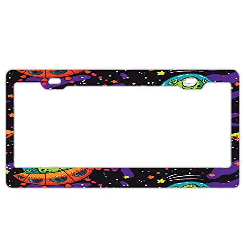 AUdddflicenshf Alien UFO License Plate Frame for Women/Man,Car License Plate Cover Waterproof License Tag Aluminum Metal License Plate Frame