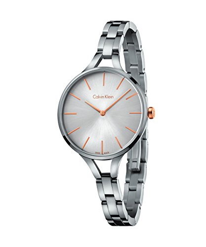 New Ladies Calvin Klein Graphic 33mm Stainless Steel Swiss Quartz Watch K7E23B46