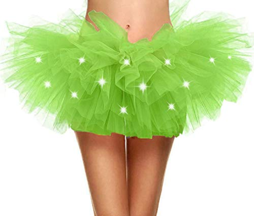 Adult's LED Light Up 5 Layered Tulle Tutu Mini Skirt, Fluorescent Green -