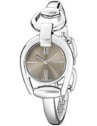 Gucci Horsebit Collection Analog Display Swiss Quartz Silver-Tone Womens Watch(Model:YA139501)