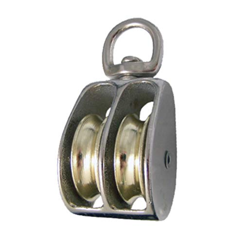 (Metal Alloy Swivel Double Wheel Rope Pulley Single Pack - 1 Inch Sheave Height - Fits 1/4 Inch Rope - for Hoisting, Hanging, and Maneuvering)