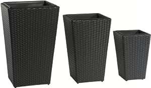 Maceteros para plantas de polyrattan marca gartenfreude incluye insertos plásticos para el interior y el exterior, negro, 46 x 46 x 45 cm, 37 x 37 x 37 cm, 28 x 28 x 30 cm