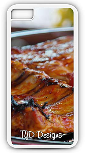 iPhone 8 Plus 8+ Case Barbeque Ribs Grill Grilling Cook Beef Pork Chicken Customizable TYD Designs in White Rubber -