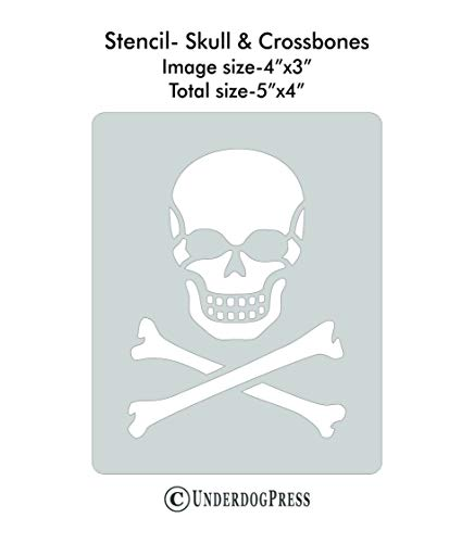 Stencil - Skull and Crossbones, Image Size 4x3 on 5x4 Border. Size 2 ()