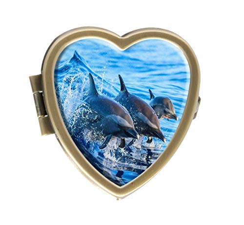 Dolphin Leaping Out of The Clear Blue Design Bronze Pill Case Box Western Medicine Tablet Holder Decorative Bronze Pill Box for Pocket or Purse