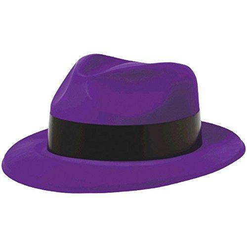 Amscan 30.4 x 26.4 cm Totally 80s Plastic Fedora Hats, Purple 250267