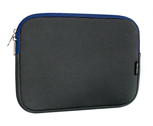 Emartbuy Dark Grey Water Resistant Neoprene Soft Zip Case Cover Sleeve with Blue Interior and Zipper 12.5-14.1 Inch Suitable for Selected Devices Listed Below
