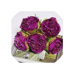 Artificial Flowers Artificial Silk Pink Peony Flowers Bridal Bouquet Yellow Fake Flower Arrangements Wedding Home Decor Big 5 Heads,G07-7 4
