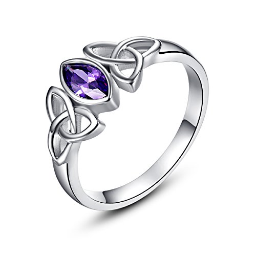 Psiroy 925 Sterling Silver Marquise Cut Created Amethyst Filled Trinity Celtic Knot Ring Size 9 ()