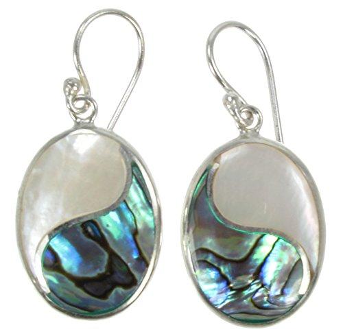 Sterling Silver & Paua Shell (Abalone) & Mother-of-Pearl Inlay Stylized Yin & Yan Symbol Dangle - Mop Shell Paua