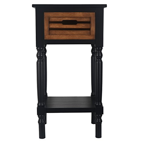 Décor Therapy Melody One Drawer Wood Side Table, Black Honeynut