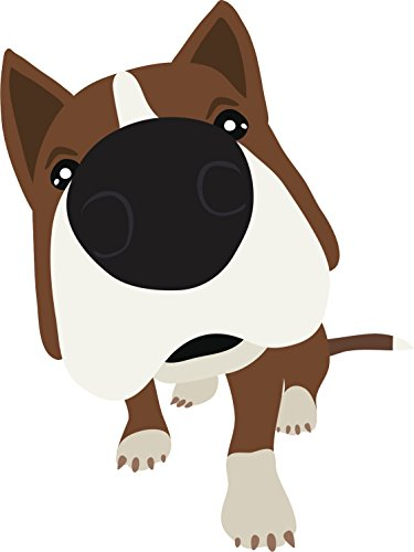 Adorable Red Nose Brown Pitbull Puppy Dog Cartoon Vinyl Decal Sticker (8
