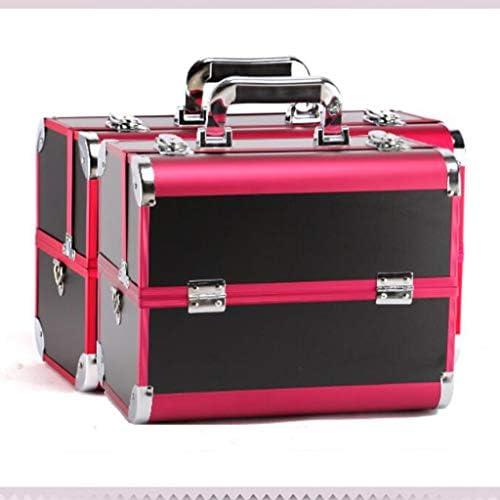 化粧品収納ボックス 自宅外の大容量化粧品収納ボックス多機能アルミニウム収納ボックス防塵と防水ブラックレッド DSJSP (Color : Red)
