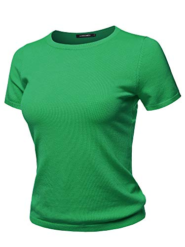 Classic Solid Round Neck Short Sleeve Viscose Knit Sweater Top Apple Green XL