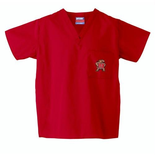 Maryland Terps NCAA Classic Scrub 1 Pocket Top (Red) (3X Large)