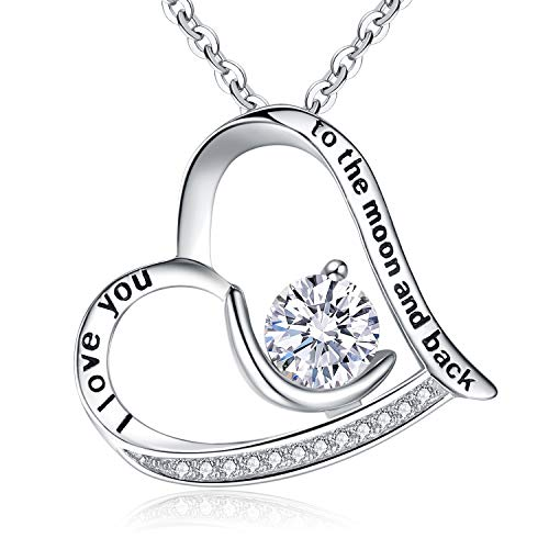"""BriLove 925 Sterling Silver Heart Necklace for Women,""""I Love You to the Moon and Back"""" Engraved CZ Love Heart Moon Pendant Necklace Clear April Birthstone"""