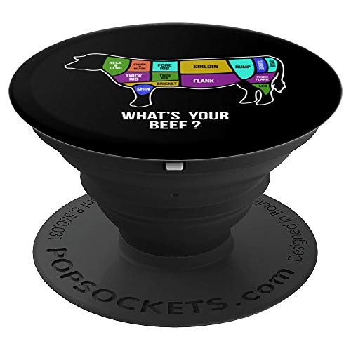 BBQ Funny Butchers What's Your Beef Art Gift - PopSockets Grip and Stand for Phones and Tablets