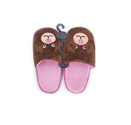 Pantofole In Flanella Da Donna Con Motivo Animali Ricamato Con Fondo Morbido Antiscivolo Marrone