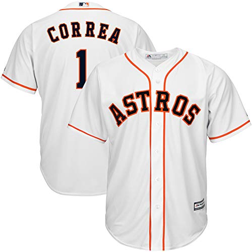 Genuine Stuff Carlos Correa Houston Astros MLB Majestic Youth Boys 8-20 White Home Cool Base Replica Jersey (Youth Large 14-16)