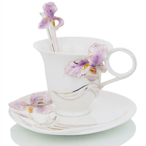 Cup Flower Saucer (Choholete Porcelain Coffee Cup Set Golden Flower-De-Luce 1 Cup 1 Saucer 1 Spoon Purple)
