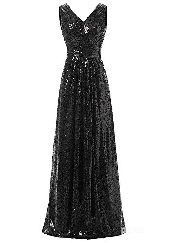 Shining Sequin Lace V-Neck A-Line Maxi Dress Long Banquet Evening Prom Gown