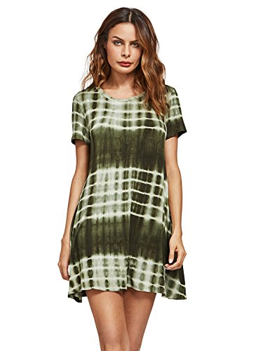 ROMWE Women's Short Sleeve Tie Dye Ombre Swing Tunic T-shirt Dress Green XL