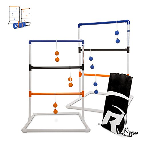 Ladder Toss - Ladder Ball Toss Game - PREMIUM & CLASSIC Versions Available - For Adults, Kids, Family - Outdoor Ladders Set with Canvas Bag, Weighted Bolos, and Sand Weighted PVC Piping - Backyard Gam