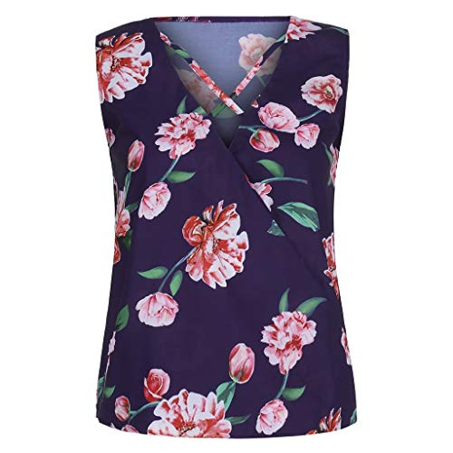 Aunimeifly Women's Floral Print Tank Tops V-Neck Cross Band Bandwidth Sleeveless Loose Blouse Ladies Summer Vest Purple