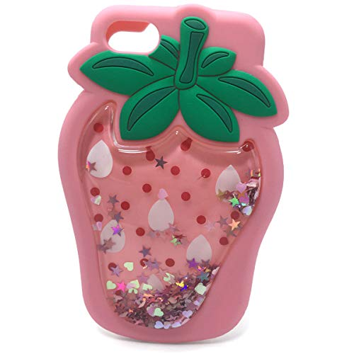 Xzihao iPhone 7 Plus Glitter Liquid Case iPhone 8 Plus Cute Cartoon Case Pink Strawberry 3D Soft Silicone Durable Rubber Protective Skin Cover Case for iPhone 7 Plus/8 Plus (5.5inch)