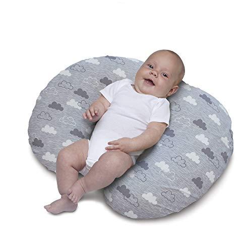 Chicco Boppy- Cojín de lactancia algodón, ergonómico, indeformable y optima adaptabilidad, de 0 a 12 meses, estampado nubes gris clouds, almohada de ...