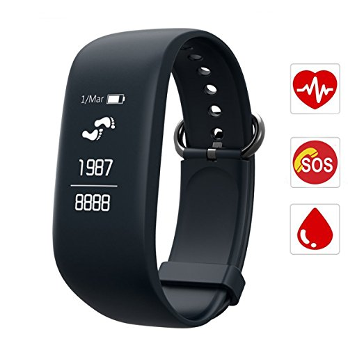 Fitness Tracker,CAMTOA Heart Rate Monitor/Bluetooth Activity Tracker/Wristband Pedometer Smart Bracelet with Sleep Monitor,IPX7 Waterproof With SOS/GPS/Calories Burned/Sleep Tracking/Text Alerts etc.