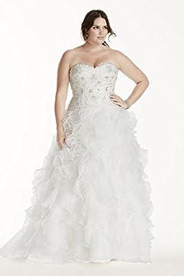Jewel Organza Plus Size Wedding Dress with Ruffles Style 9WG3752