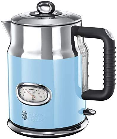 Russell Hobbs 21673 Retro Electric Kettle, Stainless Steel, 3000 W, 1.7 Litres, Blue