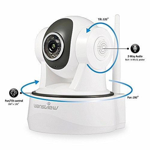 Wansview 1080P WiFi Wlan IP Sicherheits kamera, Schwenk- und Neige- WiFi IP Sicherheitskamera, Plug/ Play Überwachungskamera mit Baby Monitor Video, 2-Wege Audio und Nachtsicht Funktion Q2 (Weiß)