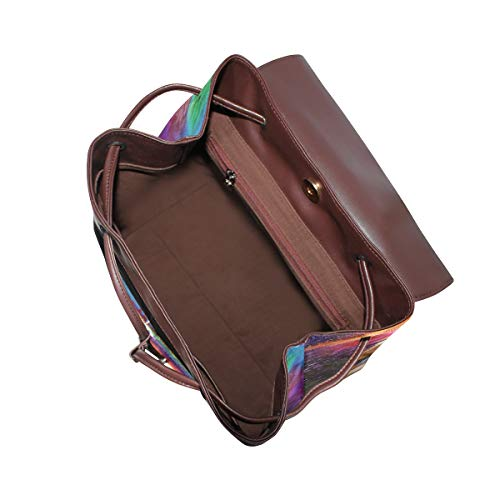 Kvinnor PU-läder färgglad aboriginal konst ryggsäck handväska resa skola axelväska ledig dagväska