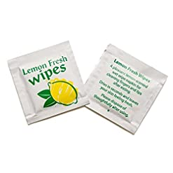 50 Lemon Scented Fresh Handy Wet Hand Wipe Takeway Travel Party Face Camping Food Tissue