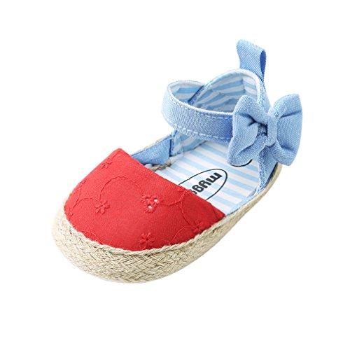 CoKate Baby Infant Boy Girl Prewalker Toddler Stripe Bow Shoes (12-18M/ Inner 5.12