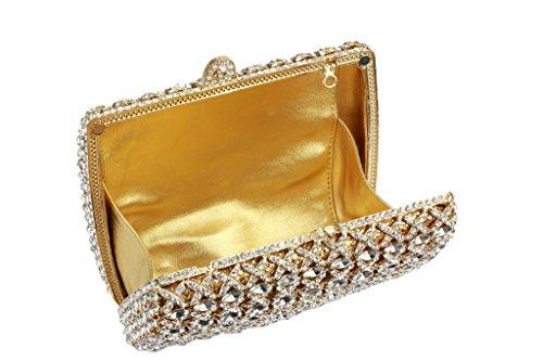 Yilongsheng Cristal de las mujeres embrague monederos(Oro)