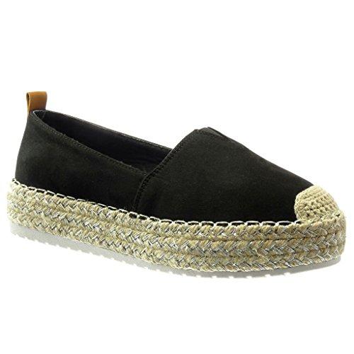 Angkorly - Chaussure Mode Espadrille plateforme slip-on femme finition surpiqûres coutures Talon compensé 3.5 CM - Noir
