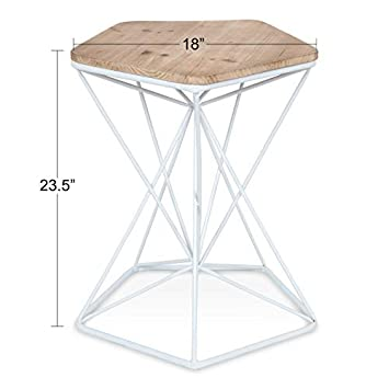 Kate and Laurel Ulane Modern Side Table, Geometric Shape Wood Top and Metal Wire Base, Two-Tone Finish in White and Natural Light Brown