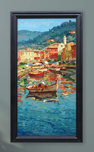 (Portofino Italy Painting on Canvas with Boats Original Cinque Terre Seascape Wall Art Home Decor Gift)