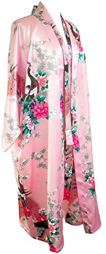 CC Collections Kimono 16 Colours Premium Version Free 1st Class UK Shipping Dressing Gown Robe Lingerie Night wear Dress Bridesmaid Hen Night (Pink Baby)