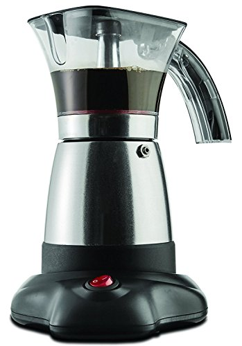 """Brentwood Electric 6 Cup Moka Espresso Maker in Silver - 6.5"""" x 9"""" x 6"""""""