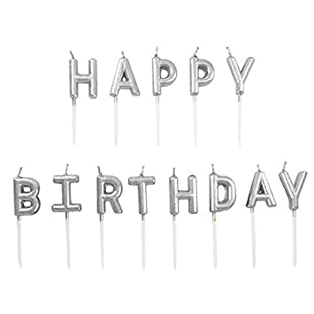 Image Unavailable Not Available For Color Chic Happy Birthday Metallic Letter Candle