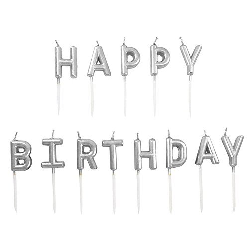 Chic Happy Birthday Metallic Letter Candle Cake Topper, Silver